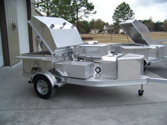 Side view of upgrade barbecue trailer