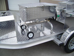Barbecue trailer grills can be fitted with seafood steamer, boiler, and fryer