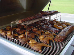 Barbecue Grill Trailer Full of Chicken