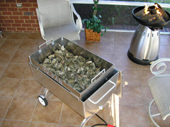 One bushel of oysters in the Oyster Steamer